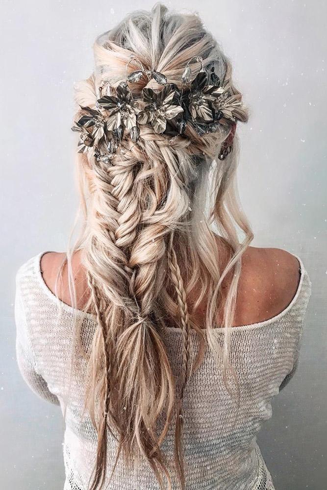 42 Boho Wedding Hairstyles For Tender Bride Hair Styles Bohemian Hairstyles Bohemian Wedding Hair