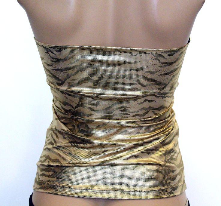 Abiye Tarzı Dore Rengi Leopar Desenli Straplez Sırtı Açık Bluz Büstiyer Modelleri ile Clubwear Gece Parti Kıyafetleri Kadın Modası