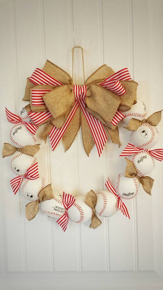 So cute!!! Get ready for baseball season!!  Check out this item in my Etsy shop https://www.etsy.com/listing/180969457/sale-baseball-wreath-perfect-baseball