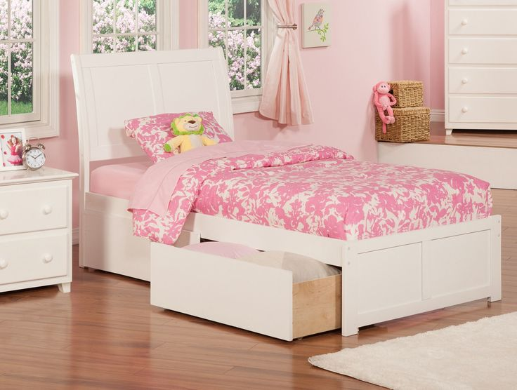 Atlantic Portland White Twin Flat Panel Foot Board With 2 Urban Bed Drawers