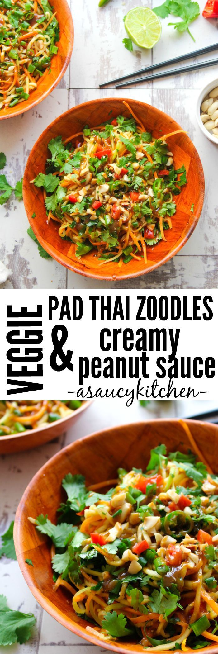 Veggie Pad Thai Zoodles & Peanut Sauce  www.asaucykitchen.com