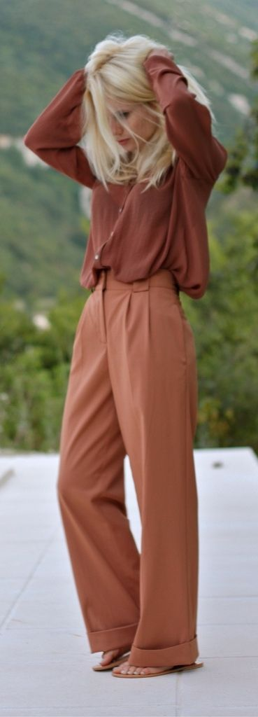Monochromatic looks are fabulous! Make yours a showstopper by pairing a button-down top with a great pair of wide-leg pants! This comfy look can transition from day to night easily with a switch of shoes and swipe of lipstick!