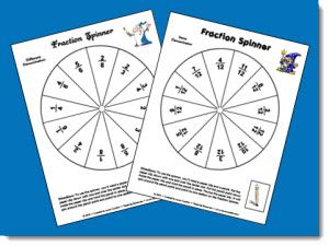 Corkboard Connections: math stations--Fraction Spinners Freebie-There are actually 2 variations of the spinner; one has different denominators and the  other spinner has twelfths as the denominator for all fractions. I changed the image and heading on each spinner slightly so that if you use both of them, your students won't get mixed up.