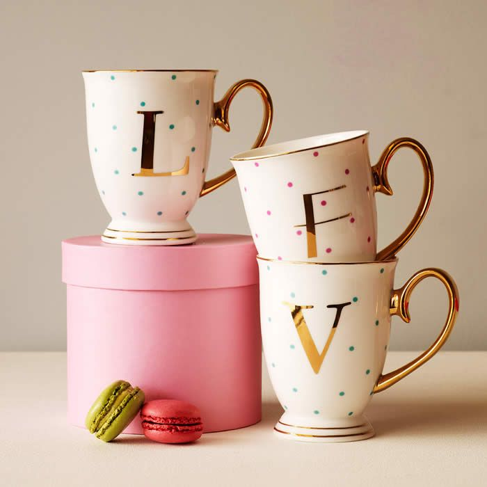 "Gift idea to friends, couple, sisters. Alphabet mugs. Buy one with the letter of their name or buy several and spell out words like ""love"", ""sis"", ""bff"""