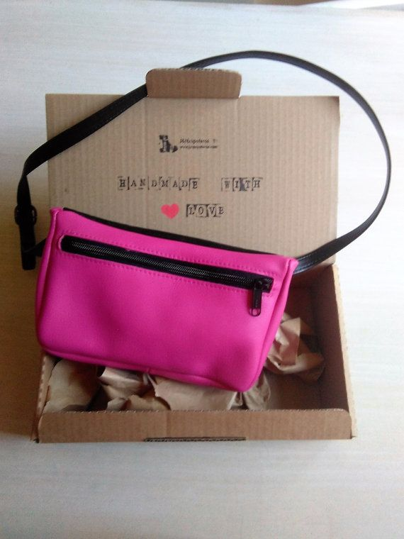 Leather Belt Pouch,Bright Pink Fanny Pack, Leather Bag for Women, OOAK Leather Belt Bag