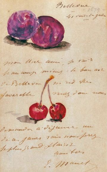 Edouard Manet  Illustrated Letter to Albert Hecht with Plums and Cherries