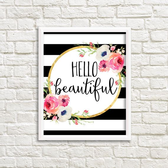Hello Beautiful Black And White Stripe Watercolor Flower Floral Print  Printable Wall Art Pink Coral Peach Part 59