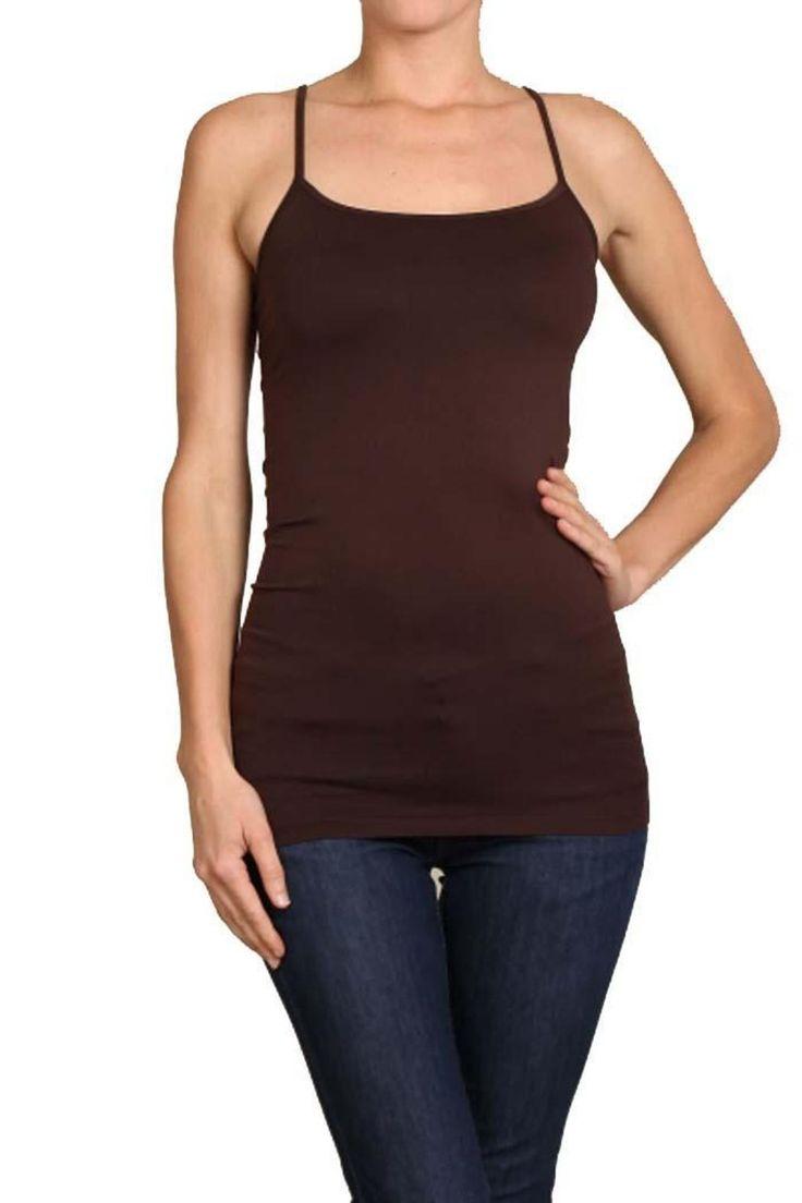 "Longer length basic camisole with adjustable straps.    Measures: 29.5"" L   Longer Length Camisole by Zenana. Clothing - Lingerie & Sleepwear - Camisoles Toronto, Canada"