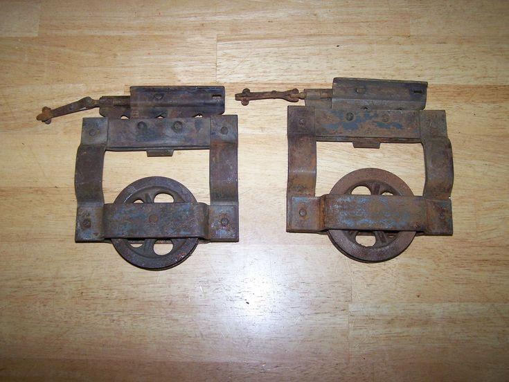 Antique Vintage Industrial Pocket Door Rollers Hardware