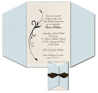 Blue Wrapped Invitations for baptism, christening or first communion