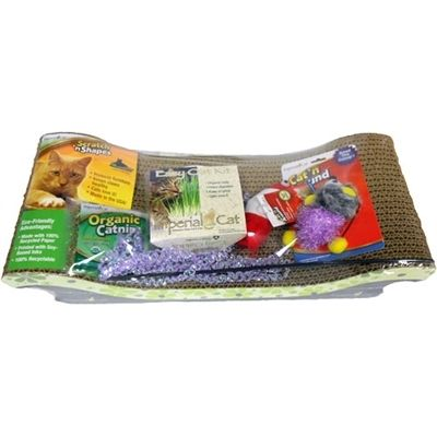 The Happy Cat Kit makes the purr-fect gift for your favorite feline! The kit contains a selection of smart products designed to enhance your cat's life: one Scratch 'n Shapes Scoop corrugated cat scratcher, one Easy Grow Organic Oat Grass Kit, one assorted Cat 'n Around wand toy, one 9 gram bag of our Certified Organic Catnip, one assorted Cat 'n Around Organic Catnip Toy 2-pack, and one assorted Cat 'n Around Refillable Organic Catnip Toy.
