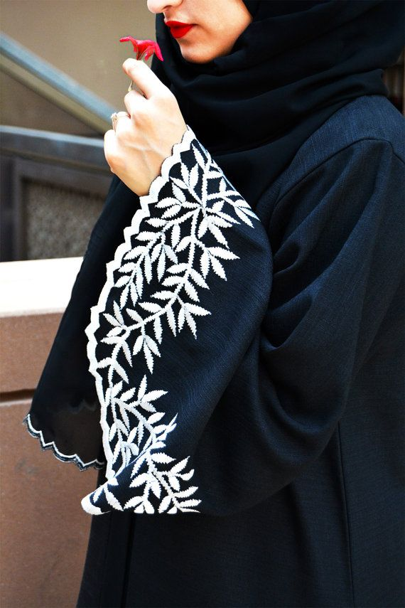 Abaya with White Leave-Shaped Embroidery; Everyday Elegance Abaya; Arabic Abaya…