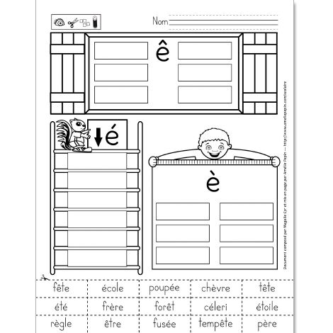 """Fichier PDF téléchargeable En noir et blanc 1 page Dans cet exercice, l'élève découpe et colle les 15 mots au bon endroit: dans la fenêtre pour les ''ê'', dans l'échelle pour les ''é'' et sous le mètre à mesurer pour les ''è''. Lors de l'impression du document, n'oubliez pas de cocher """"Réduire à la zone d'impression'' afin d'imprimer la page entière."""