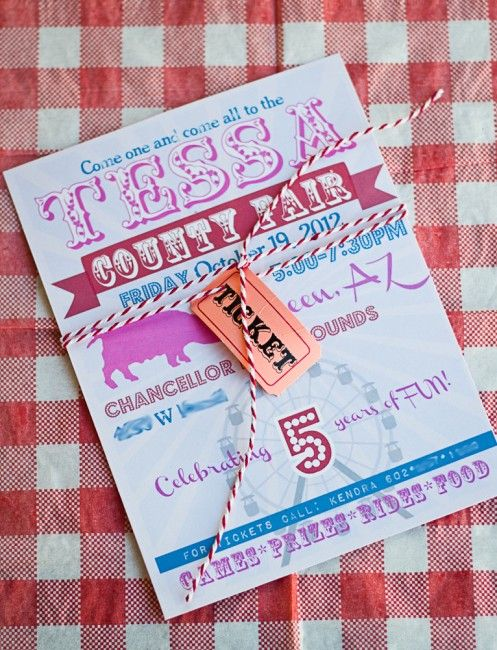 County Fair Birthday party invitation. Attach ticket with bakers twine.