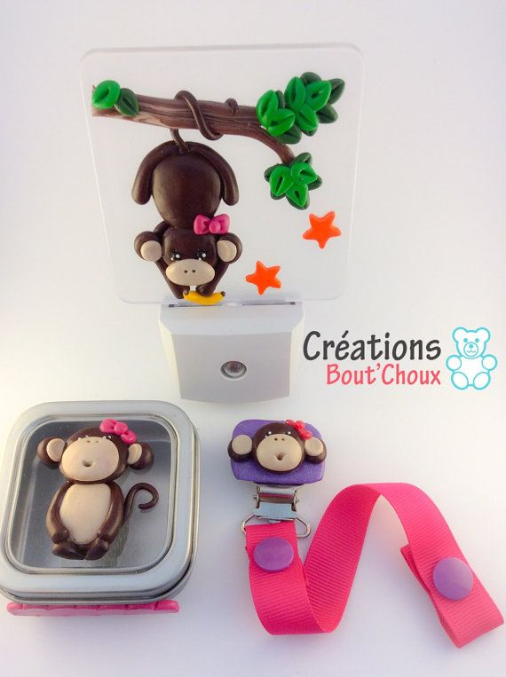 Ensemble cadeau bébé enfant singe fille par CreationsBoutChoux1