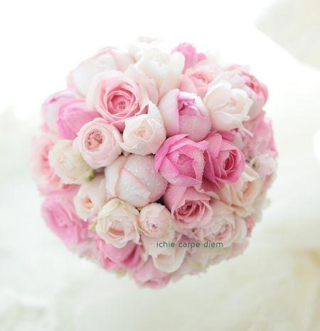 ラウンドブーケ アニヴェルセル豊洲さまへ ピンク&キュート : 一会 ウエディングの花