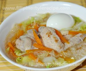 Chicken sotanghon is a noodle soup dish made of chicken meat boiled in stock together with sotanghon noodles and vegetables. This is commonly served during rainy season.