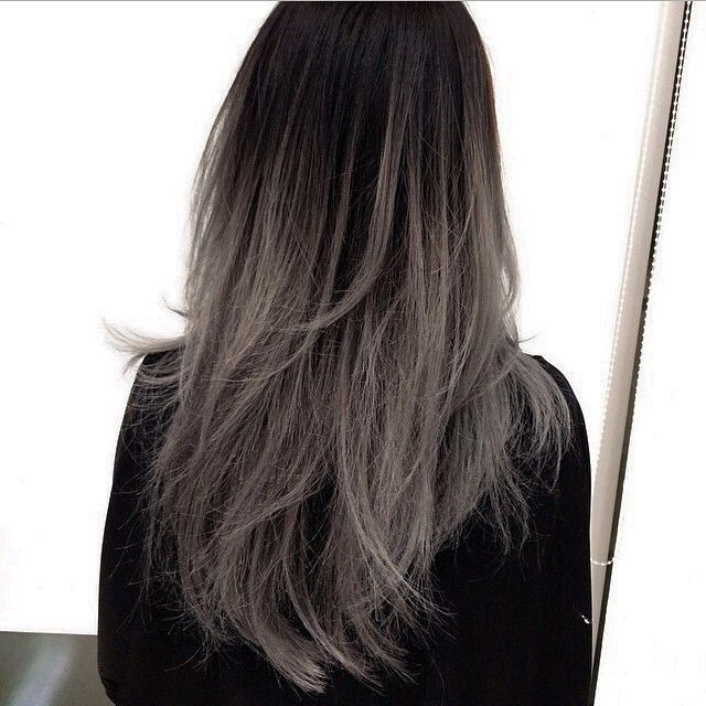 black, dark, dyed, gray, grunge, hair, hairstyle, ombre, straight