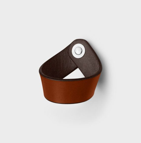 The Fremont - Leather Drawer Pull and Kitchen Cabinet Handle  l  Bring the warmth and romance of leather design to your home with the Walnut Studiolo Drawer Pulls Collection.Award-winning ($18.00)