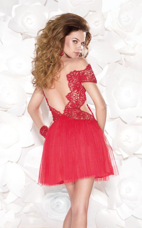 Tarik Ediz 90407 - $890.00. lace. offshoulder. tulle. short. dress
