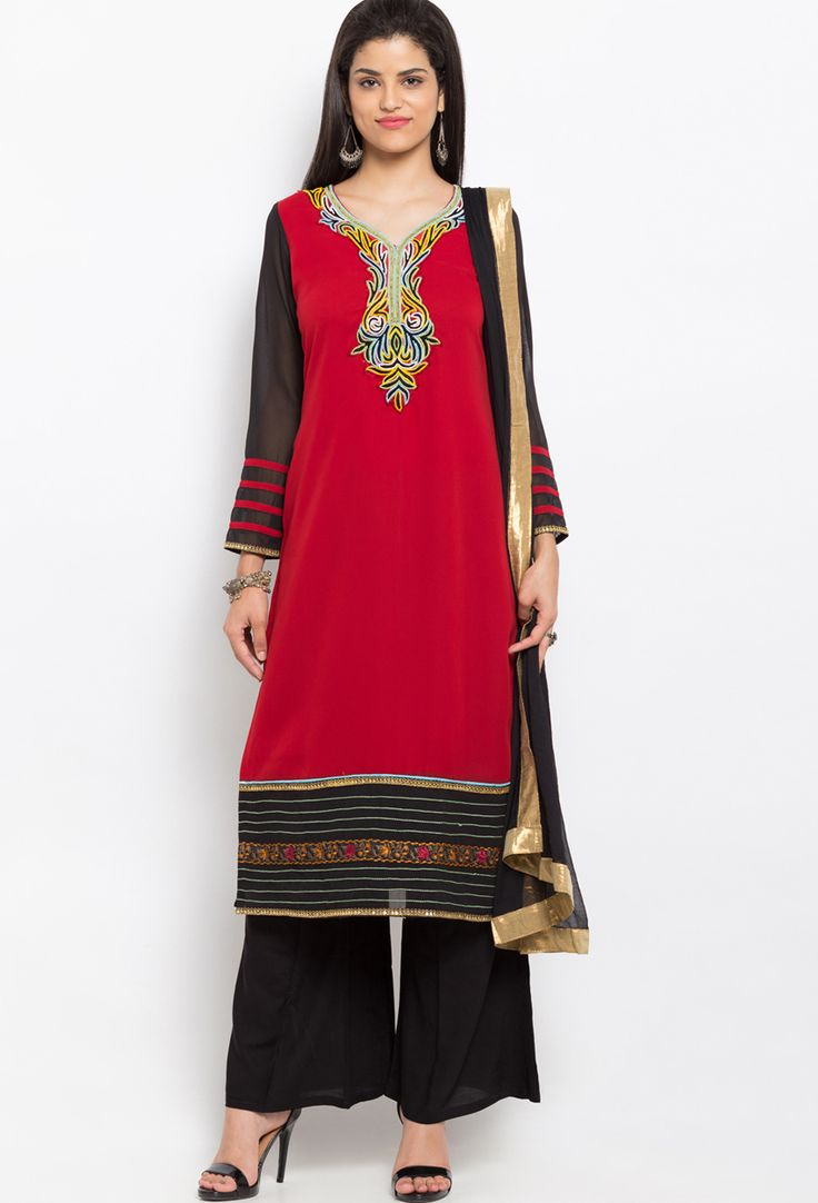 Readymade Red Georgette Shalwar Kameez Dupatta  #Readymade #Suit #nikvik #sale # dress #designer #usa  #australia #canada #freeshipping #suits #pakistani