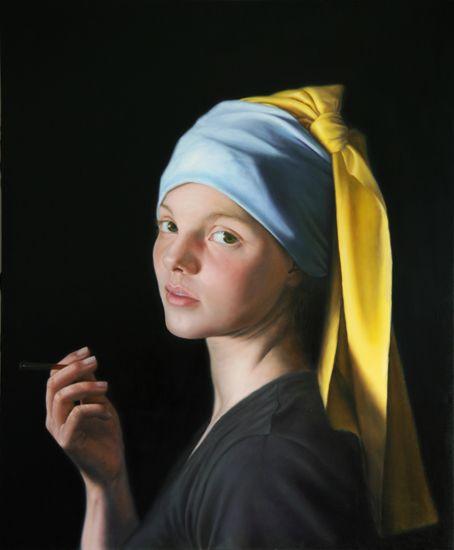 Michal Ozibko Girl with... (portrait Frederike Höppner) 230x190cm oil on canvas 2008