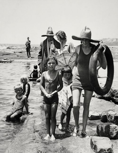 Mr. A. Wilson, publisher and family at Collaroy Beach, Sydney, 1930 | photograph by E.O. Hoppé | the rocks | ocean | seaside | family fun | history | 1930's | vintage | black & white photography | ocean baths | Australia | Summer