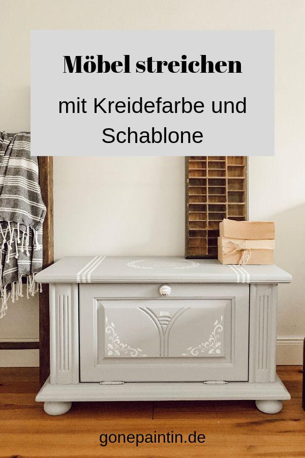 Möbel streichen mit Kreidefarbe und Schablone