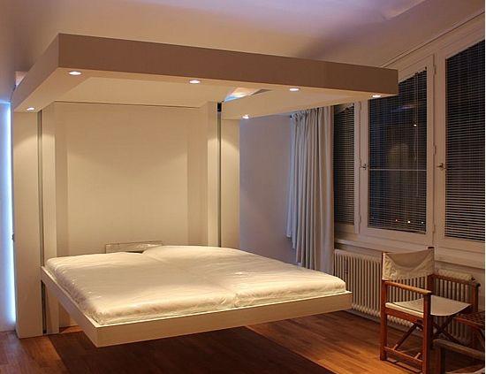 lit escamotable plafond déplié beau luminaire