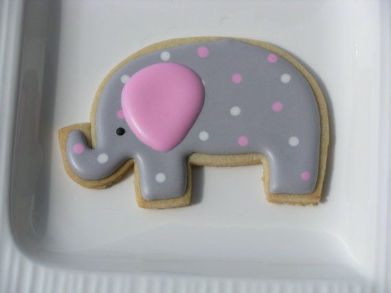 Baby elephant Cookies by PetesCustomCookies on Etsy