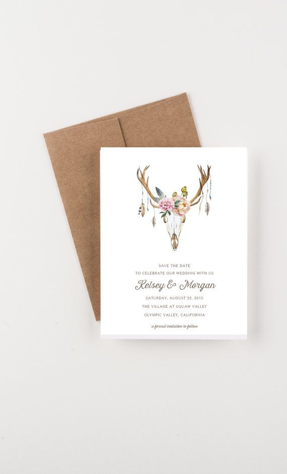 bridal shower invitations vector free%0A Bohemian Antlers with Blooms Save The Date  Wedding Announcement or Bridal  Shower