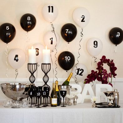 14 New Year's Eve Party Ideas--pop each balloon after that hr has passed