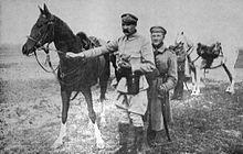 Józef Piłsudski with his favourite horse Chestnut