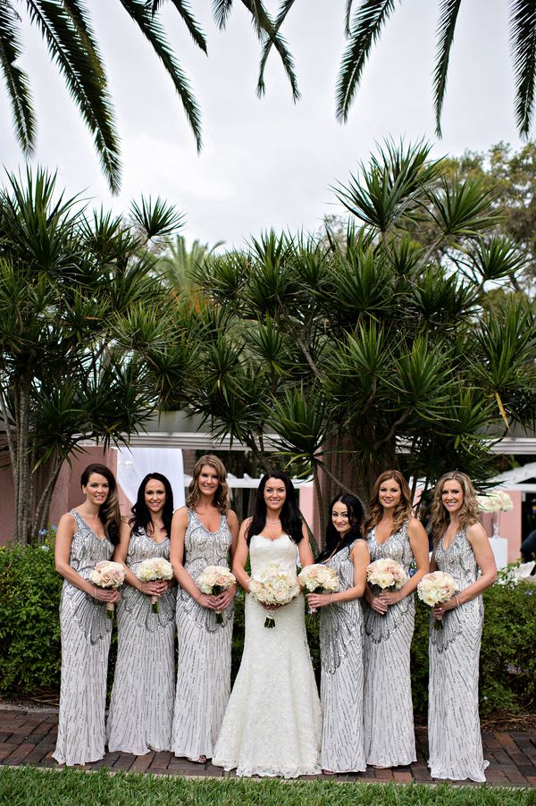 Loving these roaring 20's style metallic bridesmaid gowns! Photo by Kristen Weaver Photography