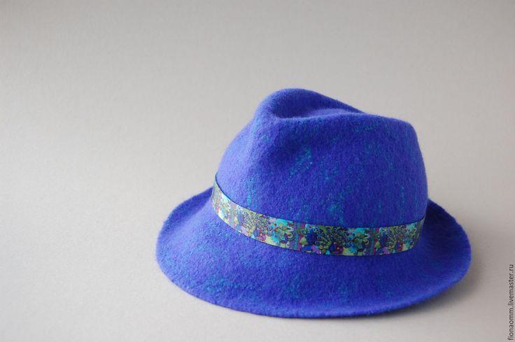 """Купить Шляпа из шерсти """"Peafowl"""". - однотонный, тёмно-синий, федора, женская шляпа, мужская шляпа"""