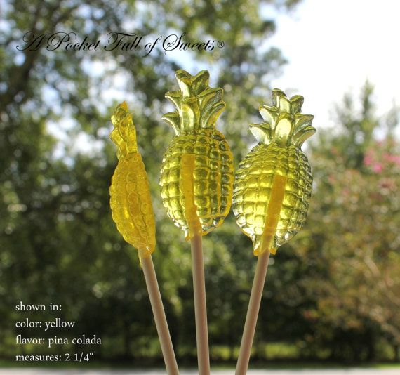 12 PINEAPPLE Barley Sugar Candy Lollipops by APocketFullofSweets, $19.99