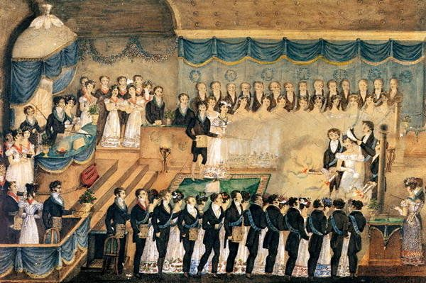 Masonic Initiation Ceremony of a lady Freemason, early 19th century by French School