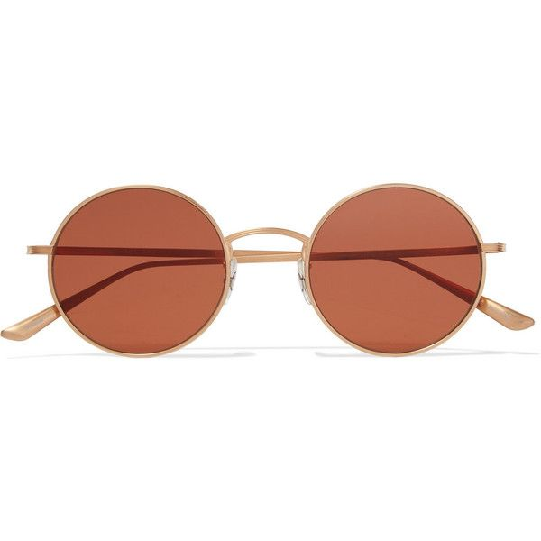 Oliver Peoples + The Row After Midnight round-frame metal sunglasses found on Polyvore featuring accessories, eyewear, sunglasses, glasses, round metal frame glasses, square sunglasses, metal glasses, oliver peoples and uv protection glasses