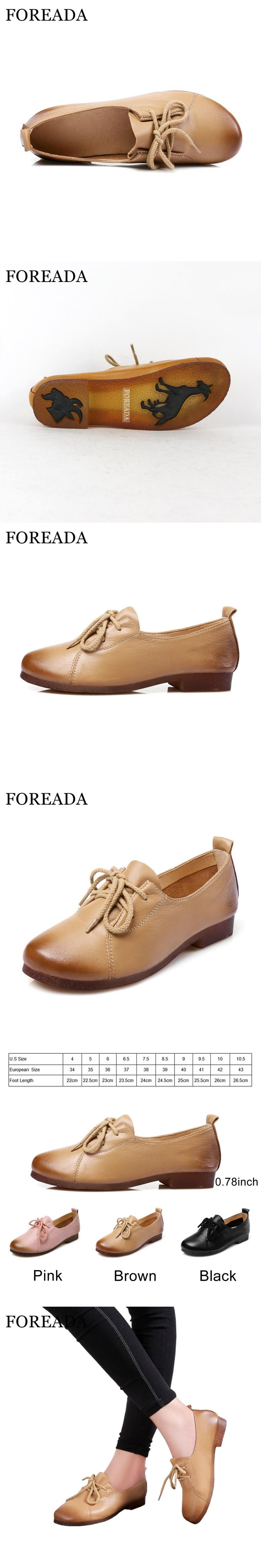 FOREADA Genuine Leather Shoes Women Flats Round Toe Lace Up Oxfords Shoes Real Leather Casual Boat Shoes Brown Pink Size 34-40