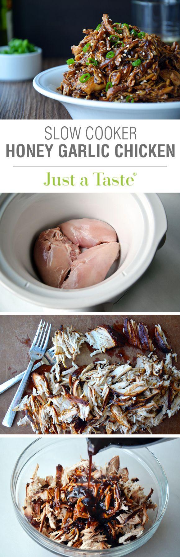 Slow Cooker Honey Garlic Chicken #recipe on justataste.com