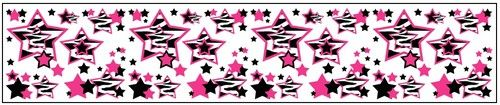 Hot Pink Zebra Stars Wallpaper Border Decals for teen girls room wall decor - Assorted colors #decampstudios