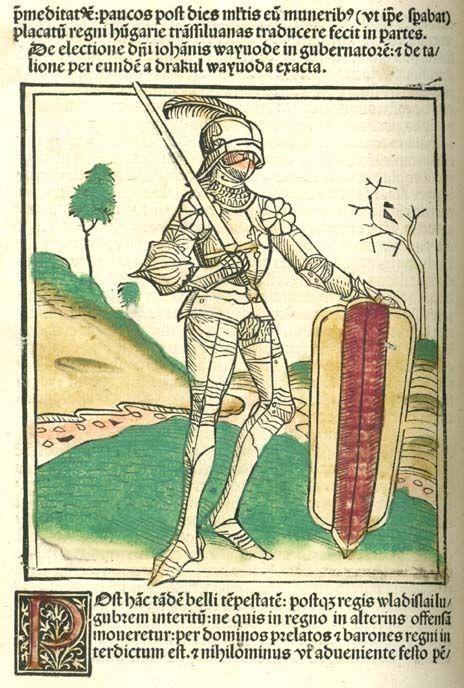 John Hunyadi on a hand-colored woodcut in Johannes de Thurocz's Chronica Hungarorum (Brno, 1488)