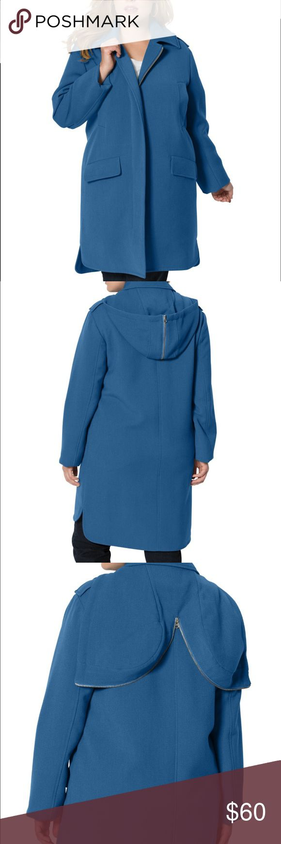 """Women's Heavy rain coat This raincoat is just the thing for keeping dry this season.  relaxed silhouette detachable satin hood with drawstring pointed collar zip front long sleeves bonded satin trim welt pocket at chest flap pockets at waist lined hem drops to about 38"""" polyester/rayon/spandex, dry clean, imported Brand new. Size 14/16 Jackets & Coats Trench Coats"""