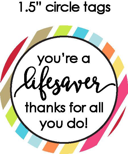 "Teacher/co-worker gifts, teacher appreciation, PTA, PTO, thank you note, gift tag--You're a ""lifesaver"" by PartyTimeDesign on Etsy"