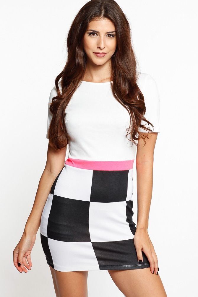 Neon Contrast Checkered Dress