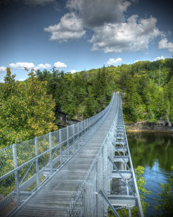 The suspension bridge over Ranney Gorge in Campbellford.