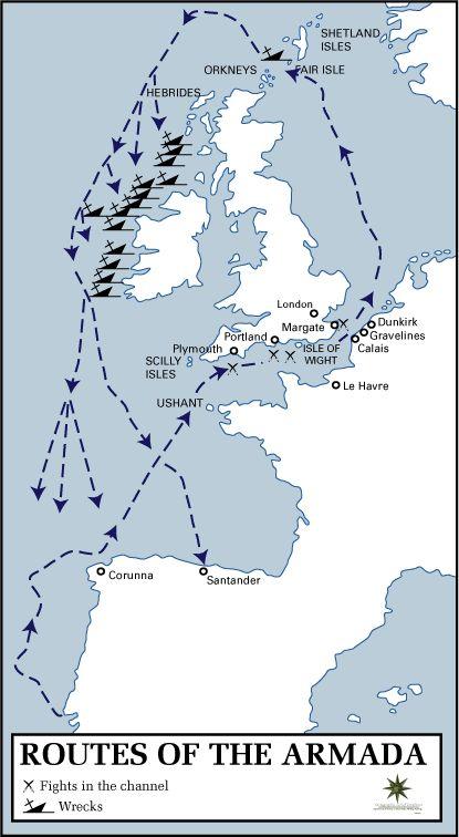 Mapa de las rutas de la Armada Invencible de Felipe II