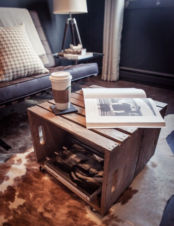 DIY: Crate Table..two crates back to back. Staple with nail gun and add Gorilla glue to adhere together. Books or Photo Albums in the sides, great small coffee table. Stain the wood, or do a stain color wash or paint.