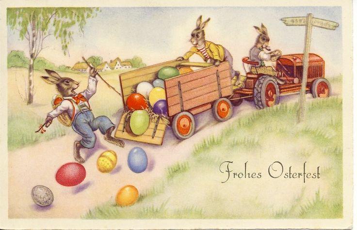 AK, Ostern: Osterhasen und Traktor, Anhänger mit Ostereier, Verlag BR 4619, gel