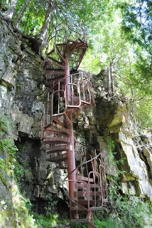 Bruce Trail spiral staircase on Spirit Rock Loop - Bruce County, Southern Ontario